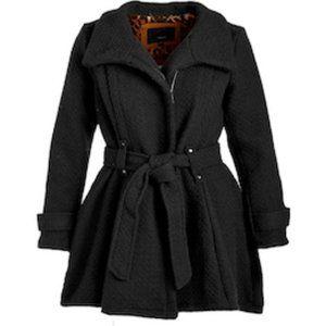 Steve Madden Women's Black Drama Trench Coat